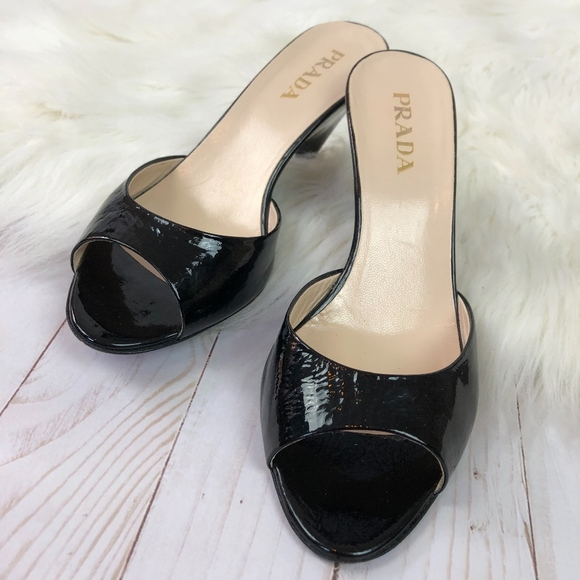 f5dbd73fb8c Prada Patent Leather Open Toe Kitten Heel Sandal 5